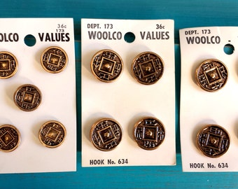 Vintage Brass Buttons, Vintage Woolco Values Buttons, Buttons, Brass Buttons, Vintage Buttons, Sewing & Craft Supplies, 13 pcs