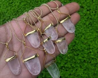 Natural stone protection shield rose quartz necklace stone healing stone 1pc