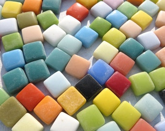 "Small Glass Tiles Square - 1/2"" - Assorted Colors - 100 Opaque Glass Solid Color - Thicker Tiles with Smooth Edges"