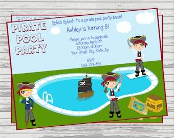 Pirate Pool Party Custom DIGITAL Birthday Invitation.