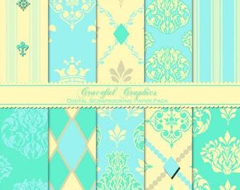 Scrapbook Paper Pack Digital Scrapbooking Background Papers 10 Sheets 8.5 x 11 Soft Foral DAMASK Flowers French Country Provencial 1083gg