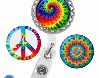 Tie Dye (TD1) Retractable ID Badge Reel with (3) Charm Magnets