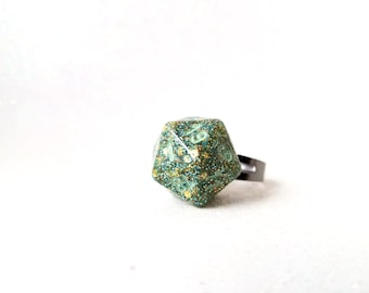 Individually cast clear resin D20 dice ring with jade and gold glitter