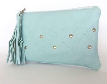 Monroe Leather Pouch:  Pale Blue