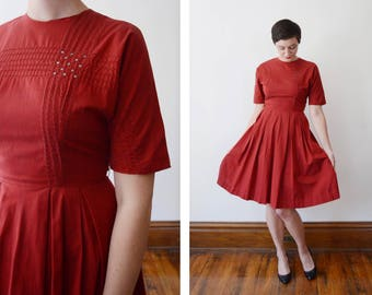 Vicky Vaughn 1950s/1960s Red Button Back Dress with Rhinestones - S/M