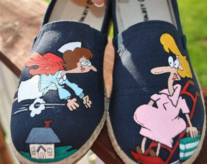 Custom Hand Painted size 40 womens size 9 super nurse for L & D canvas shoes SOLD