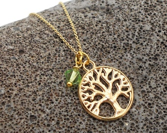 Tree Necklace, Minimalist Family Tree Circle of Life Necklace with Birthstone - Mothers Necklace, Tree of Life, Tree, Leaf, Tree Necklace