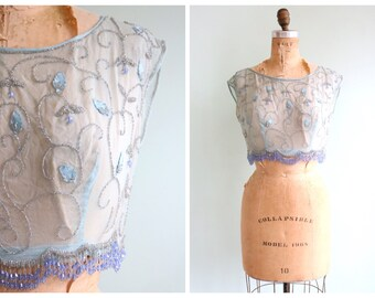 Vintage 1920's Blue Chiffon Beaded Blouse   Size Small