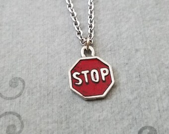 Stop Sign Necklace SMALL Red Stop Sign Charm Street Sign Driving Necklace New Driver Gift Driving Instructor Gift 16th Birthday Pendant