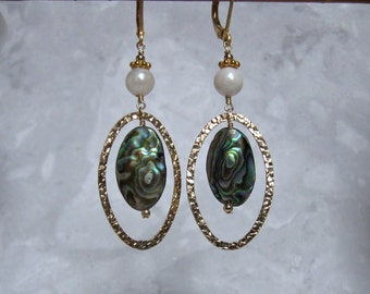 Pearl Abalone Earrings- Gold Filled
