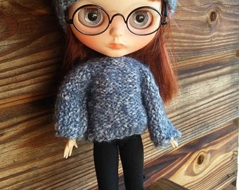 290. French and english knitting pattern PDF - Sweater and Hat for Blythe