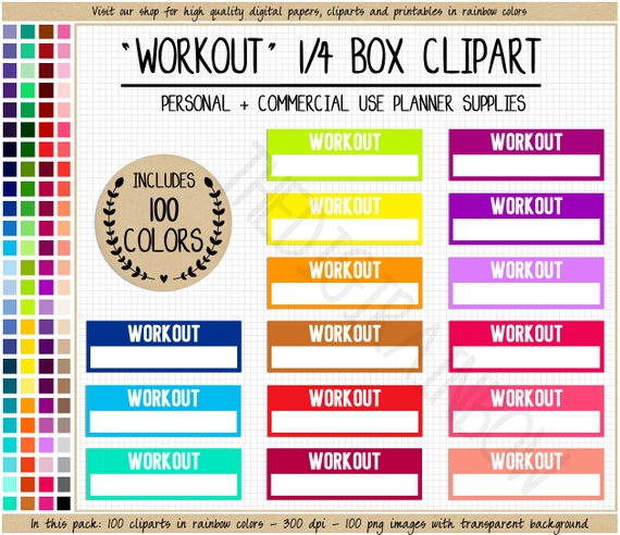 sale 100 workout planner stickers health printable planner stickers weight loss erin condren happy planner commercial use planner cliparts from