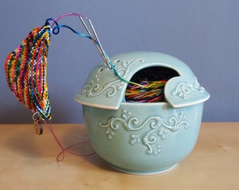 yarn bowl with scrolls in Aqua