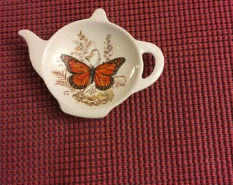 Ceramic Teabag Holder Butterfly 4.5 ""
