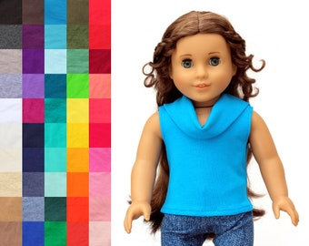 Fits like American Girl Doll Clothes - Sleeveless Cowl Neck Top, You Choose Color | 18 Inch Doll Clothes