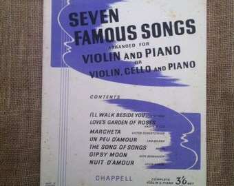 Vintage Sheet Music for Violin, Cello, Piano. Seven Famous Songs. 1930s Songbook