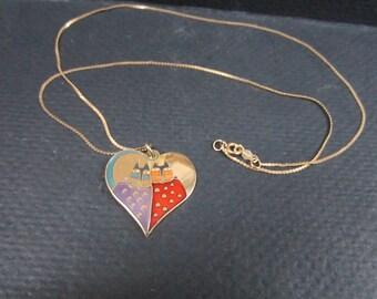 Laurel Burch Valentine cats pendant necklace
