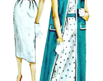 Late 50s Sheath and Coat Ensemble Pattern  SIMPLICITY 2495  1958 Early Mad Men Era UNCUT Sewing Pattern  Bust 32