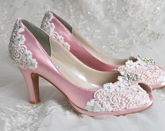 "Wedding Shoes - Wedding Accessories- Womens Shoes, Wedding Heels Wedding Shoes Bridal Shoes Wedding Lace Peep Toe 2 3/4"" Heels, Bridal Shoes"
