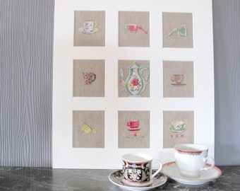 Table 9 cups and saucers embroidered