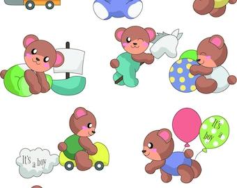 Babyshower clip art,Babyshower clipart,Boy baby shower teddy clipart,baby shower clipart,commercial use,digital clip art,Instant download