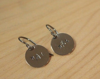Personalized Monogram Discs - Titanium Earrings / Niobium Earrings / Surgical Steel Earrings (Hypoallergenic Nickel Free for Sensitive Ears)