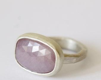 Pinky grey rose cut sapphire slice ring
