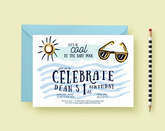 Baby Pool Themed Party Invite - One Year Old Birthday Party Invitation - Summer Invite - Sunglasses, Sun, Swimming - Printable or Printed