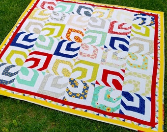 Handmade Quilt | Toddler Quilt | Lap Quilt | Throw Quilt | Blanket | Modern Quilt | Kaleidoscope Quilt | Illusion Quilt | Flowers | Text