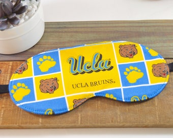 UCLA Bruins Fabric Sleeping Mask, Unisex Gold Yellow Blue Face Sleep Cover Present, Soft Comfortable Light Blocking Slumber Party Accessory