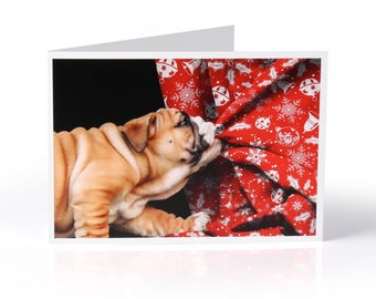 Limited Edition Bulldog Christmas Card: Puppy pulling wrapping paper