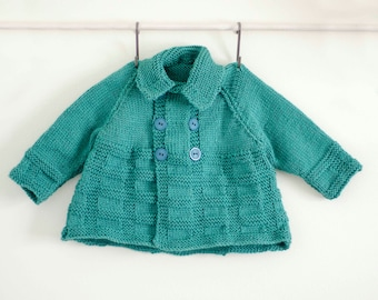 Knitted Double Breasted Turquoise Matinee Coat, Toddler Sweater, Child Coat, Child Cardigan, Child Matinee sweater, Hand Knit, Child Knits