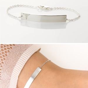 Simple Medical Alert Bracelet in Sterling Silver / Medical ID Bracelet Custom Personalized Large Bar ID Bracelet Layered+Long LB160_38_B_mb
