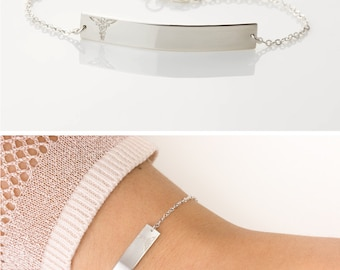 Simple Medical Alert Bracelet in Sterling Silver / Medical ID Bracelet Custom Personalized Large Bar ID Bracelet Layered+Long LB160_38_B_mb