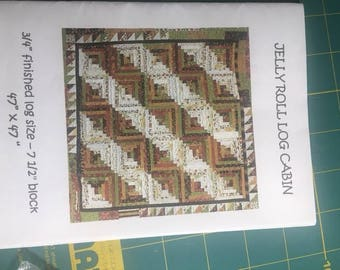 """Jelly Roll Log Cabin Quilt Pattern by """"It's Me"""" Creations"""
