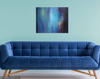 Aqua and Deep Blue Abstract Painting by Elizabeth Armstrong-Modern-Contemporary-Landscape-Minimalist