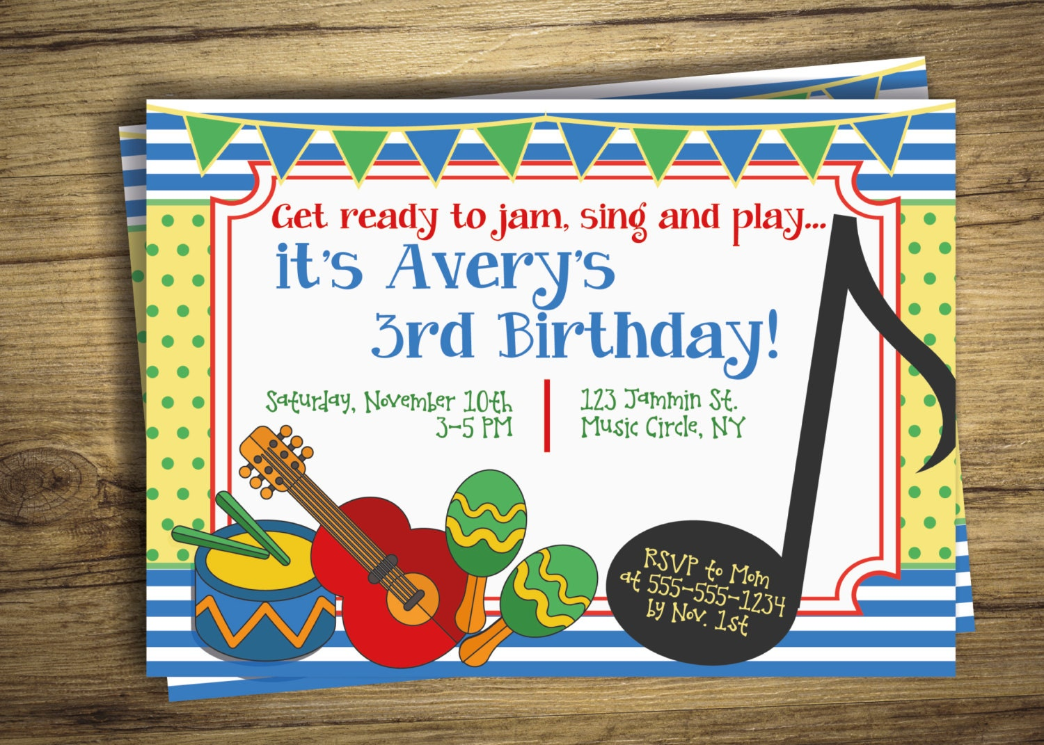 Music Birthday Party Invitation Drum Music Circle First