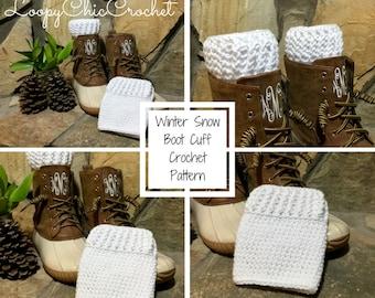 Winter Snow Boot Cuff Crochet Pattern, Boot Cuff Crochet Pattern, Leg Warmer Crochet Pattern, Boot Sock Pattern