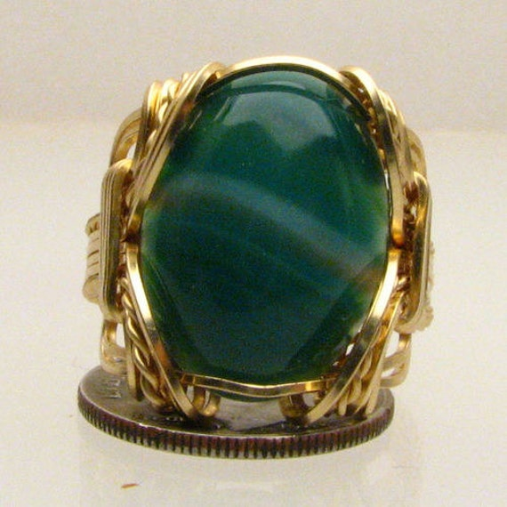 14kt Gold Ring Malachite Ring Wire Wrapped Handmade Ring Solid 14kt Gold Wire Wrapped Malachite Ring