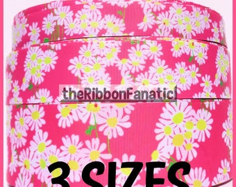 "5 yds or 3yds Lilly Fabric Inspired Look Lady Hot Pink Daisies Daisy 3 Sizes 7/8"" 1.5"" 2.25"" Grosgrain Ribbon"