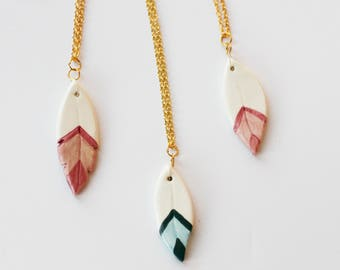 Feathers - Ceramic Charm Necklace