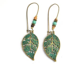Ethnic earrings, leaf