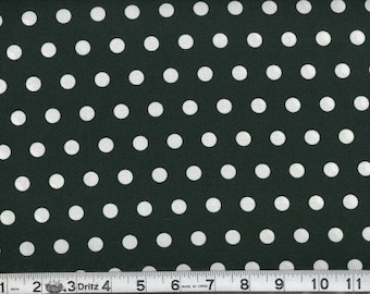 Fabric Little Dots White on Hunter Green Polka Dot Fabric Cotton 1 Yard