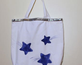 white cotton tote bag hand painted blue stars