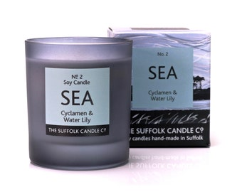 SEA - Cyclamen and Waterlily - handmade scented candle 100% soy wax in a smoked glass container 200g