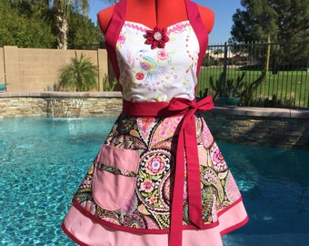 SALE ~ Paisley Sassy Apron with Petticoat, Womens Misses and Plus Sizes,  Kitchen Apron, Pin Up, Southern Belle, Haute Girls