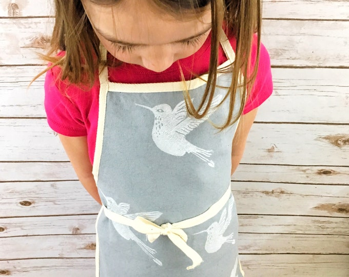 Childs apron, toddler apron, kids apron, childrens apron, organic canvas, grey, hummingbirds, fits 3-8 year olds, handprinted, unisex apron