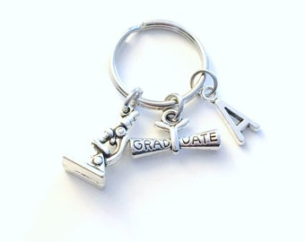 Graduation Gift for Scientist Keychain, Lab Tech Science Degree Teacher Key chain, Microscope Keyring Initial letter men women her him BSC