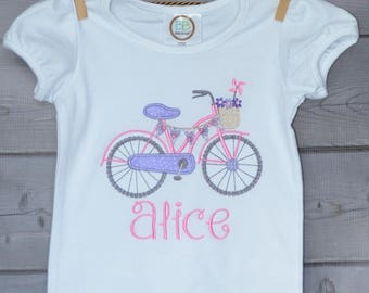 Personalized Bicycle Bike Applique Shirt or Bodysuit Boy or Girl