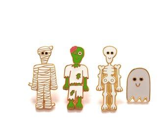 Spooky Crew, Pin Badge, Pin, Pins, Enamel Pin, Zombie, Ghost, Skeleton, Mummy, Brooch, Lapel Pin, Ghost Pin, Skeleton Pin, Enamel Pins